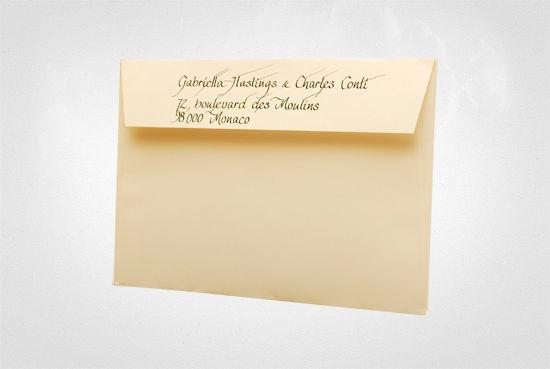 Beispiel: Handgeschriebene Briefumschläge, Foto: Event Calligraphy.