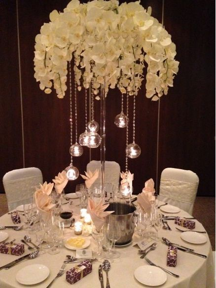 boule en verre éclairage et orchidées
