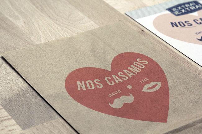 Invitación de boda David + Laia   www.servilletadepapel.es