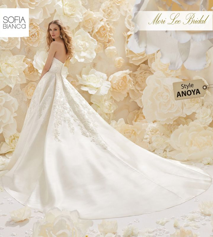 Style ANOYA A LUXURIOUS LARISSA SATIN BALL GOWN WITH STRAPLESS BODICE AND CRYSTALLISED LACE APPLIQUES     COLOURS WHITE OR IVORY