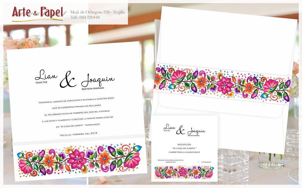 Hermosa invitacion con flores coloridas