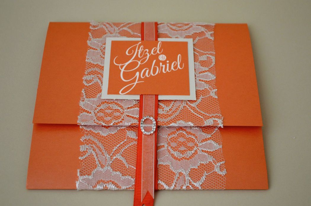 Invitación Boda  Tema Romantic Lace&Color Tangerine Tango