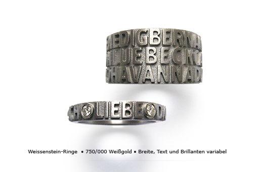 Beispiel: Weissgoldehering mit Diamant und Text, Foto: Panzerknacker Goldschmiede.