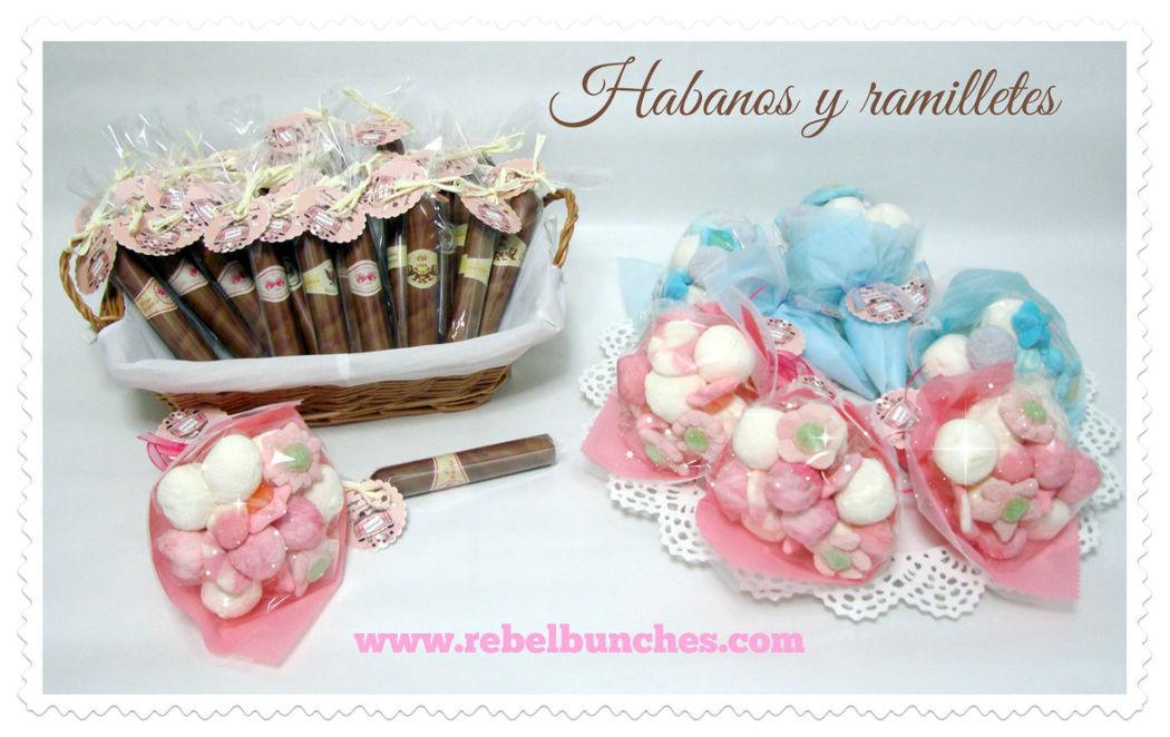 Habanos y ramilletes en rosa y azul