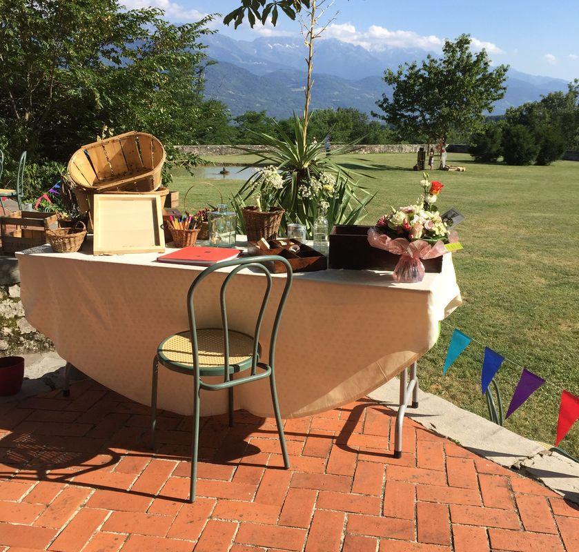 table du livre d'or...décor nature
