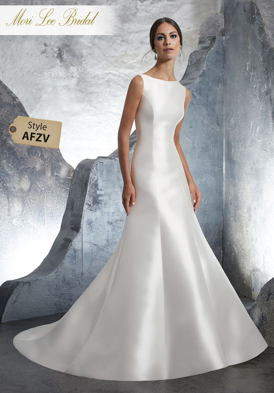 Style AFZV Kassandra Wedding Dress  Classic Marcella Satin Bridal A-Line Gown with Detachable Train and Crystal Trim Back Detail. Covered Buttons Along the Entire Train Completes the Look. Colors Available: White, Ivory