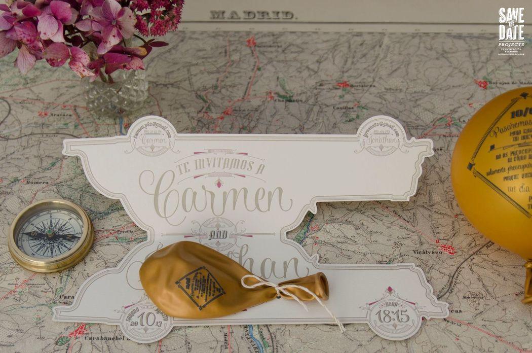 Invitación de boda personalizada con forma de coche y globo, estilo vintage realizada en Letterpress (impresión con relieve).