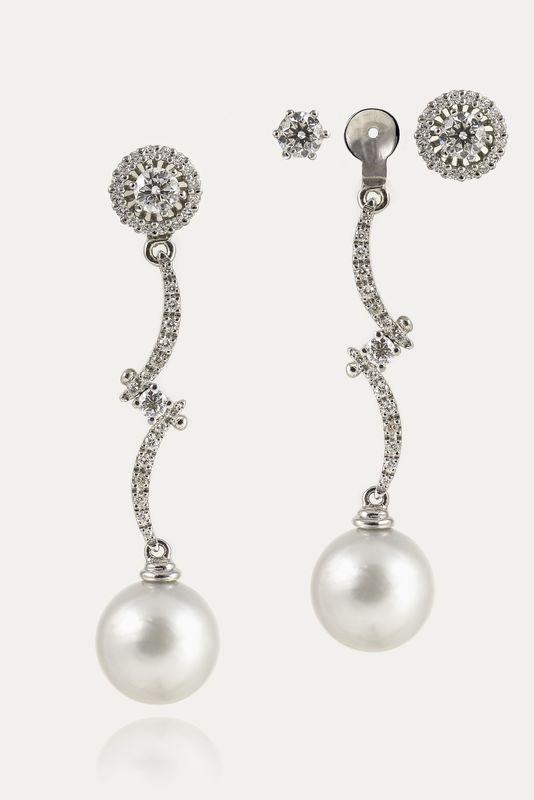 Pendientes desmontables de oro blano, diamantes y perlas australianas