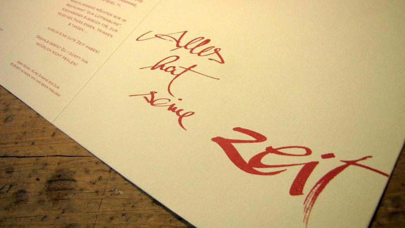 Beispiel: Druckkunst, Foto: Die Drucker Hochzeitskarten.