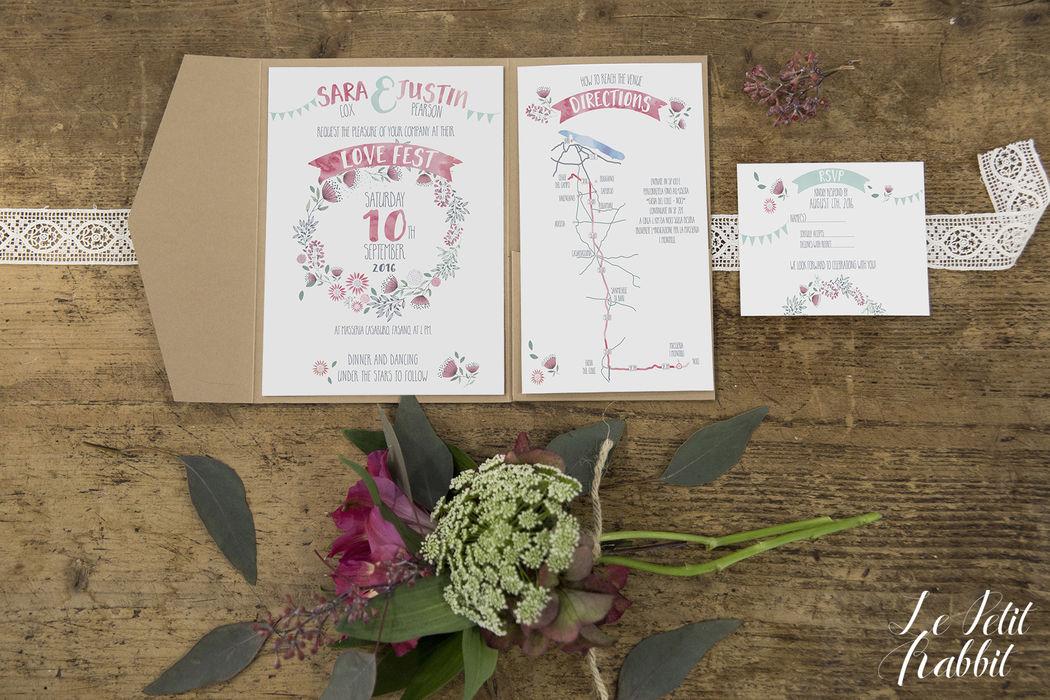 Partecipazione di nozze Boho Chic Watercolor