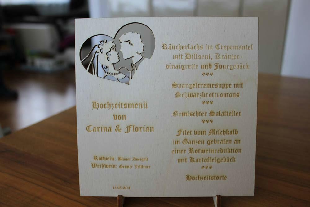Beispiel: Hochzeitsmenükarte, Foto: Hochzeitlädchen.