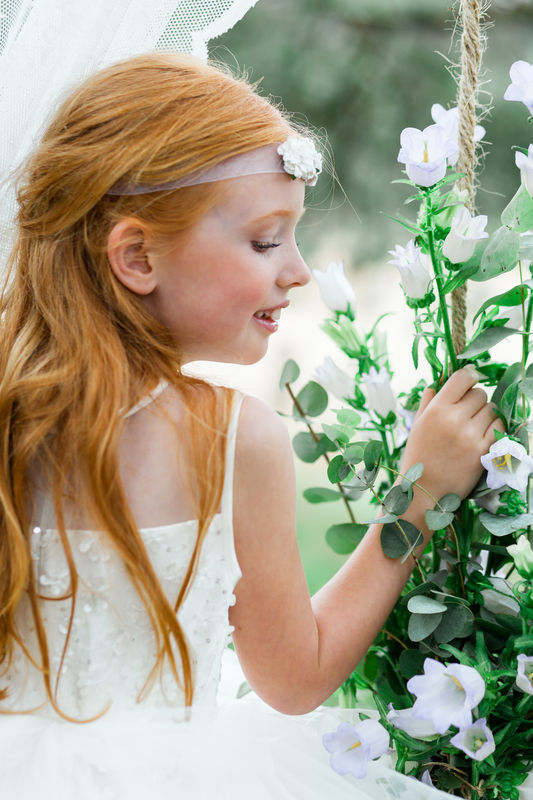 Romantic Forest Wedding, flower swing
