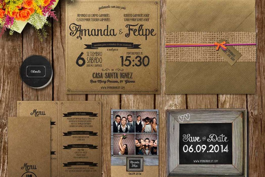 Amanda e Felipe - Convite, menu, fotocabine, save the date e kit toalete