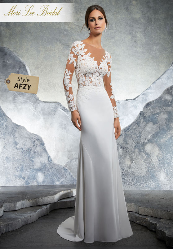Style AFZY Kaira Wedding Dress  Fitted Stretch Crepe Wedding Dress Featuring Embroidered Appliqués on The Sheer Net Bodice and Long Sleeves. An Open Keyhole Back Trimmed in Covered Buttons Completes the Look. Matching Satin Bodice Lining Included. Colors Available: White/Nude, Ivory/Nude