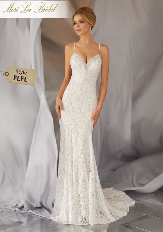 Style FLFL Moraia Wedding Dress  Fun and Flirty, this Allover Alençon Lace, Slim Wedding Dress Features a Diamanté and Crystal Beaded Neckline and Back Strap Detail. Colors Available: White, Ivory, Ivory/Light Gold.