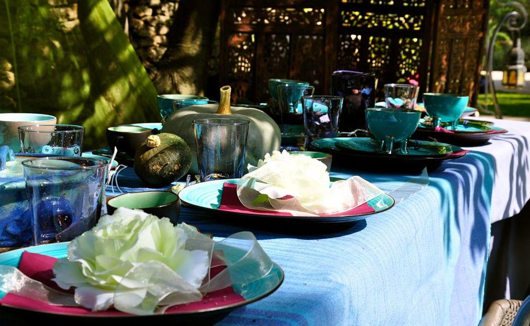table marriage en plein air (déco sur mesure - chic bohème)