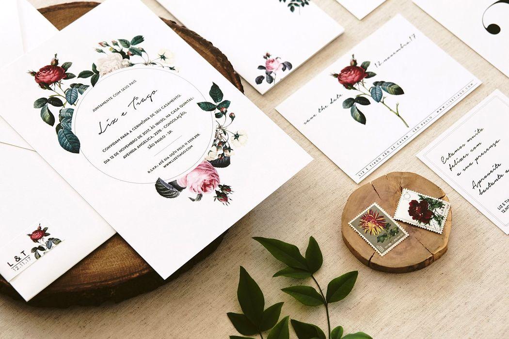 Convite Floral Vintage