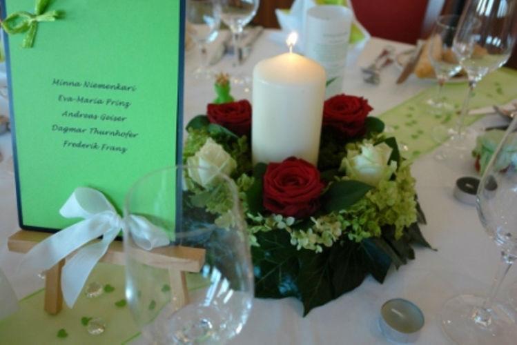 Beispiel: Tischdekoration, Foto: Hotel Schachner.