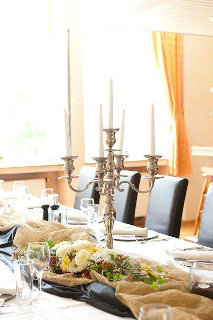 Beispiel: Kleiner Saal - Tischdekoration, Foto: Stadtgasthof Grüner Kranz.