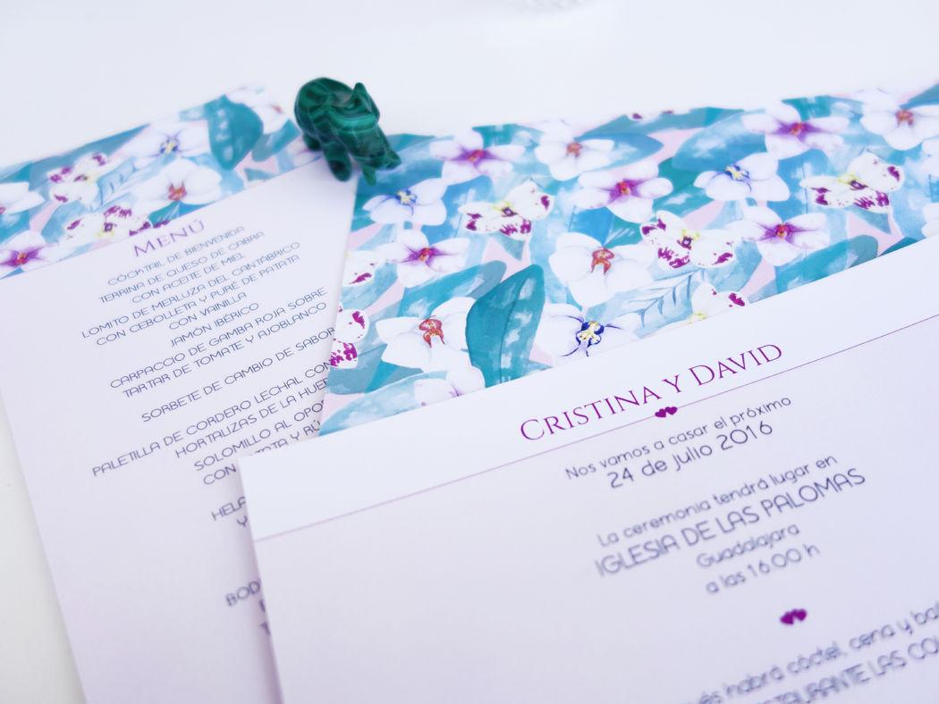 Invitación de Boda y minuta Colección Orquídeas Verde
