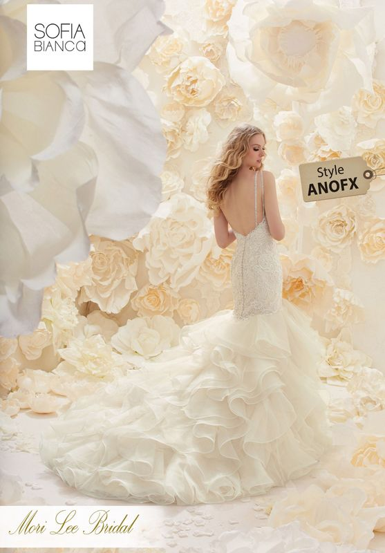Style ANOFX A SLIM FITTING LACE BODICE WITH DOUBLE CRYSTAL STRAP DETAIL ON A FLOUNCED ORGANZA FISHTAIL SKIRT AVAILABLE IN 3 LENGTHS: 55', 58' AND 61'  COLOURS WHITE, IVORY, IVORY / LIGHT GOLD