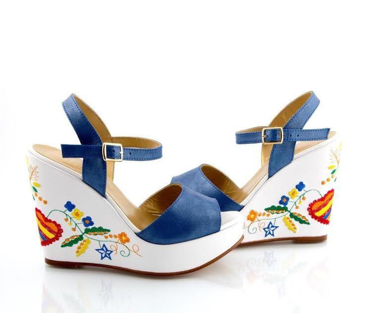 Sapatos Namorar Portugal Jasmim - Azul - Branco