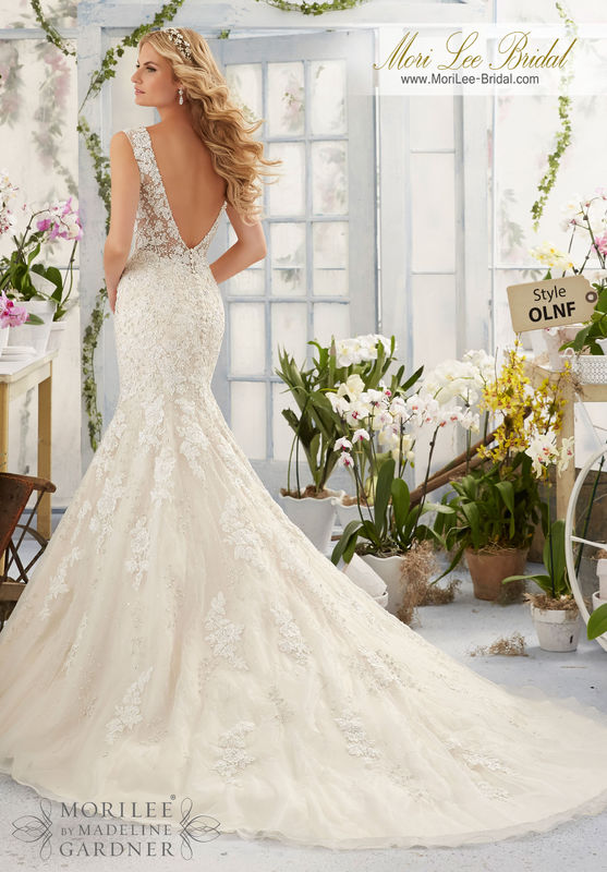 Dress Style OLNF Alencon Lace Appliques And Crystal Beaded Embroidery On The Net Gown Over Soft Satin