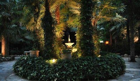 Foto nocturna de una parte del jardín , Finca La Peña del Agua