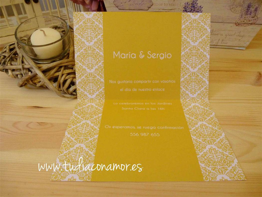 Invitación de boda en color amarillo