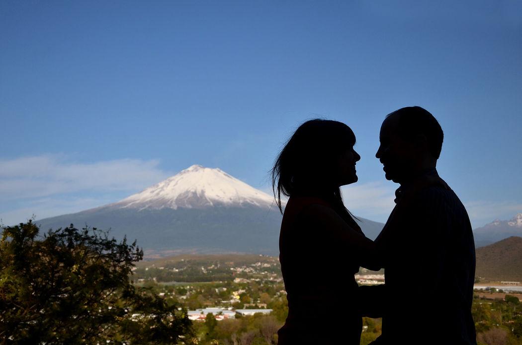 siluetas y volcan