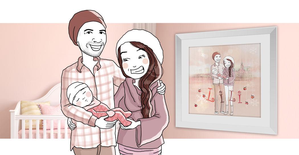 Illustration famille naissance - Marina Gri