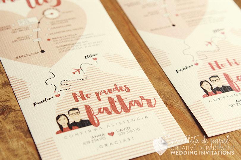 Invitación de boda Anna + David | www.servilletadepapel.es