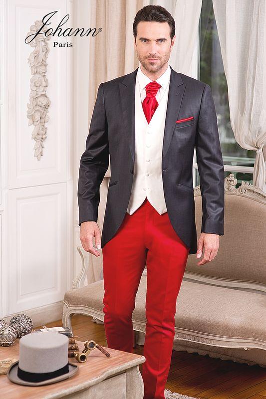Costume mariage anthracite gilet ivoire et pantalon rouge sur mesure