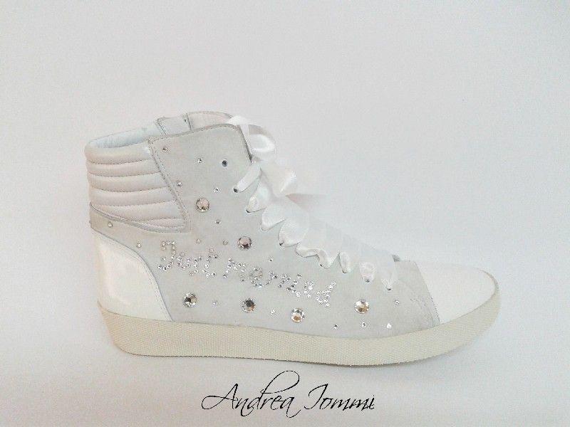 sneakers sposa con cristalli Swarovski