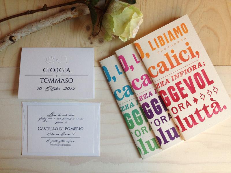 Partecipazioni  classiche ed eleganti stampate su carta cotone con rilievo a secco. I nostri quaderni sono diventati bomboniere!