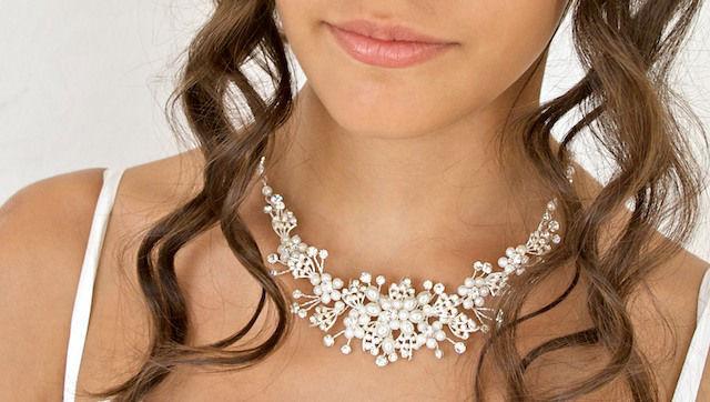 Arya Italian Jewels - Gioielli Sposa e Matrimonio - Collana Sposa  con perle e Swarovski