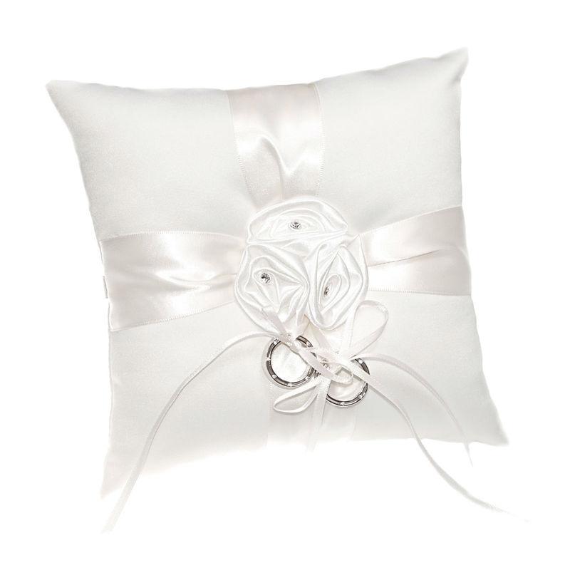 Arya Italian Jewels - Accessori Sposa e matrimonio - Cuscino Portafedi in raso con fiori e strass Swarovski