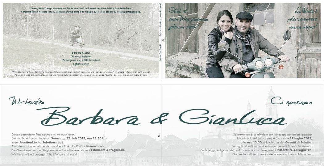Hochzeitskarte lang 4-seitig, 21x10.5 cm.,  Vollfarbig. Foto: AKHOF-Print AG.