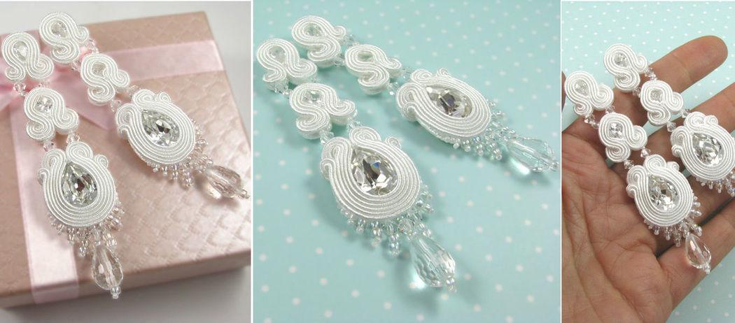Małgorzata Sowa - PiLLow Design, Biżuteria ślubna sutasz. Długie kolczyki ślubne - kryształ górski, cyrkonie, kryształy Swarovski, srebro