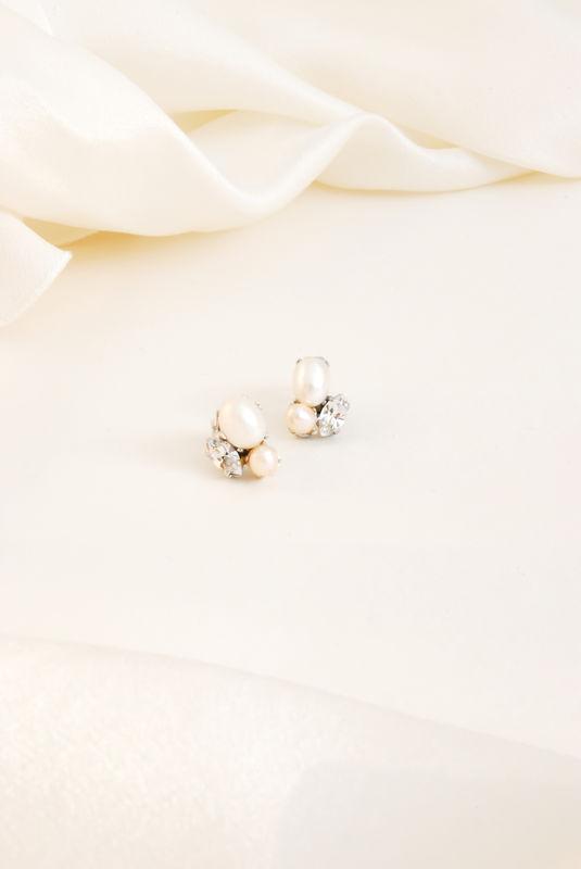 Orecchini di perle rosa e cristalli | Elibre Handmade