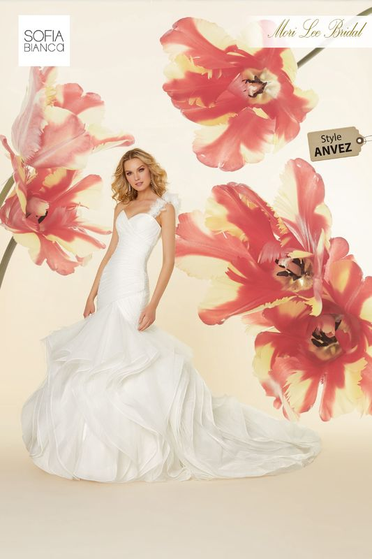 Style ANVEZ Sirena  Asymmetrical draped, horsehair edged flounced tulle mermaid  Removable floral shoulder strap