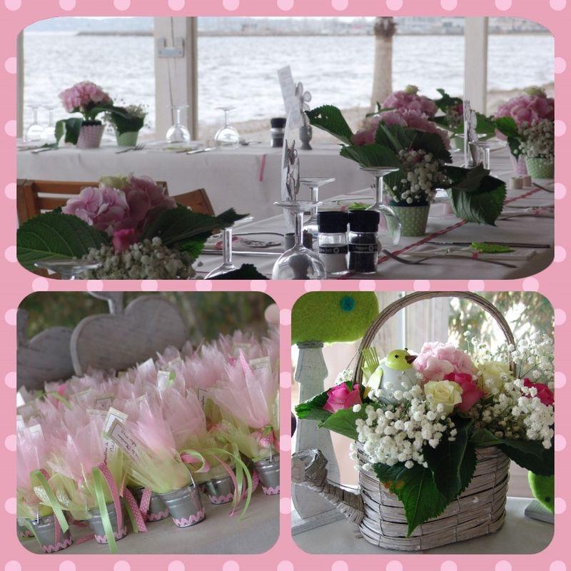 Baptême. Décoration des tables, conception des dragées, compositions florales...