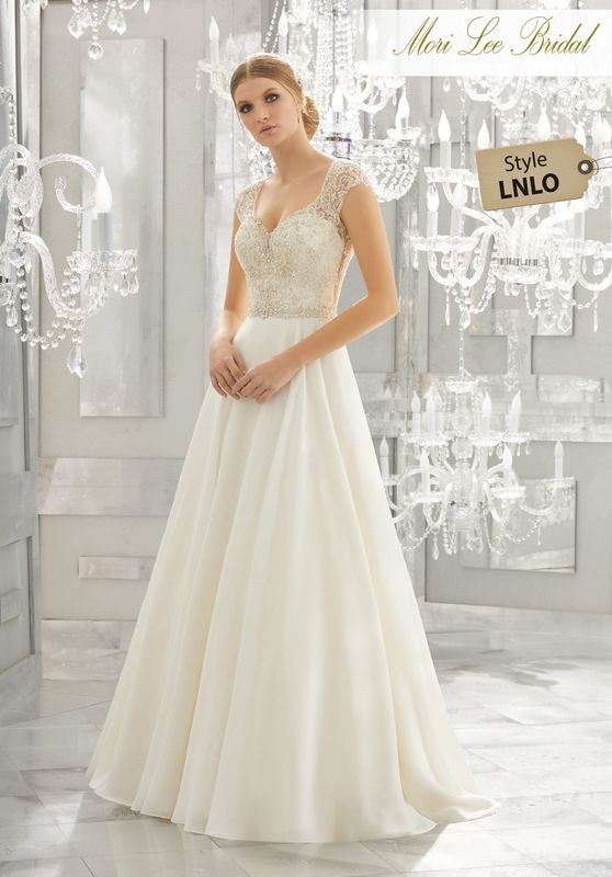 Style LNLO Mollie Wedding Dress  Diamanté and Crystal Beaded Embroidery Adorn the Bodice of This Silk Chiffon Wedding Dress. A Removable Beaded Organza Belt, Also Sold Separately as Style NXOFO, and Open Back Complete the Look. Colors Available: White, Ivory, Ivory/Champagne.
