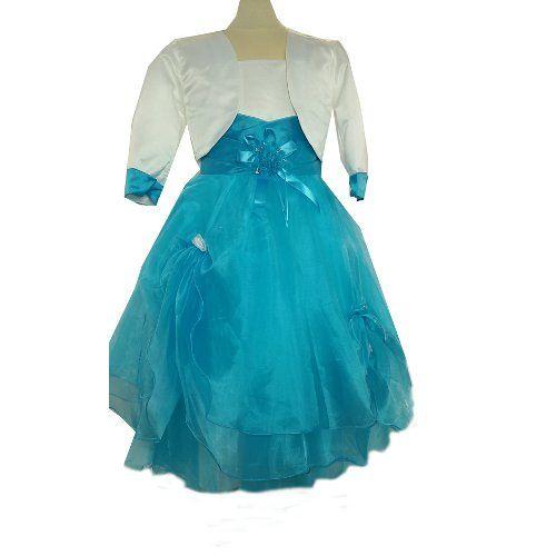 Robe de cérémonie fille ivoire et turquoise, boléro satin, jupon en tulle, demoiselle d'honneur, mariage du 2 ans au 12 ans