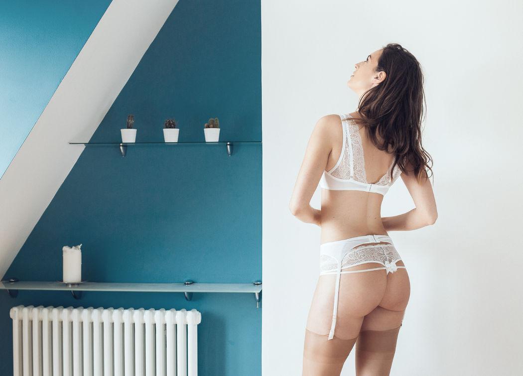 Atelier Modesti Lingerie Mariage - Oh Mariage Plunge, string, porte jarretelles