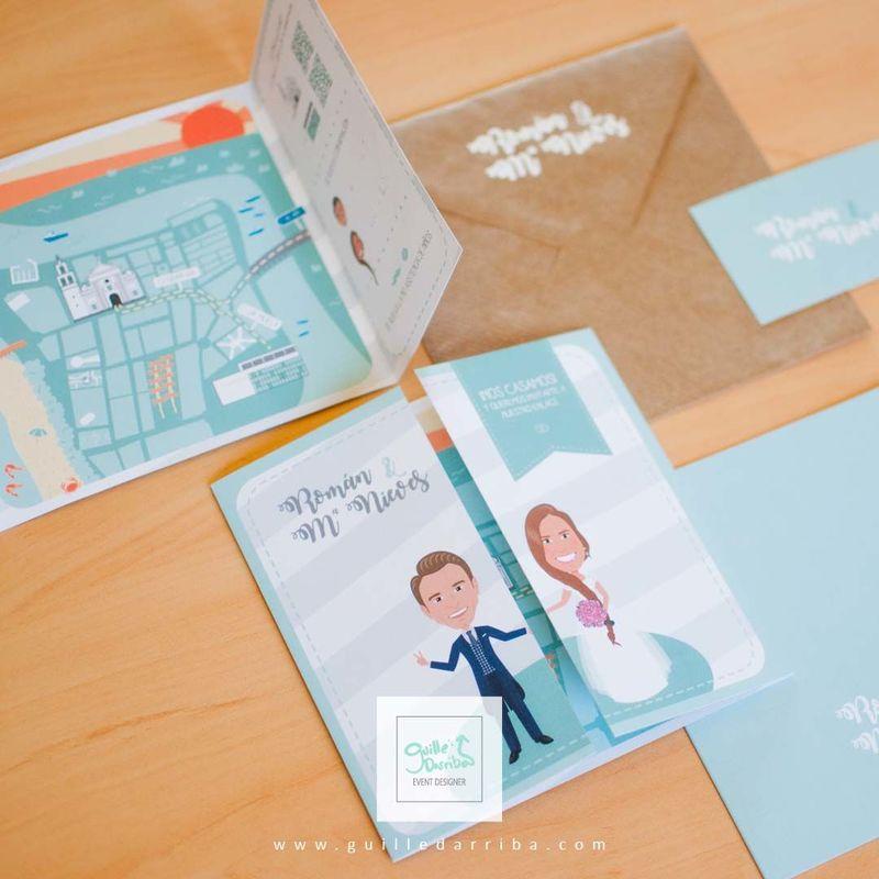 Invitación de boda personalizada de Román y Mª Nieves