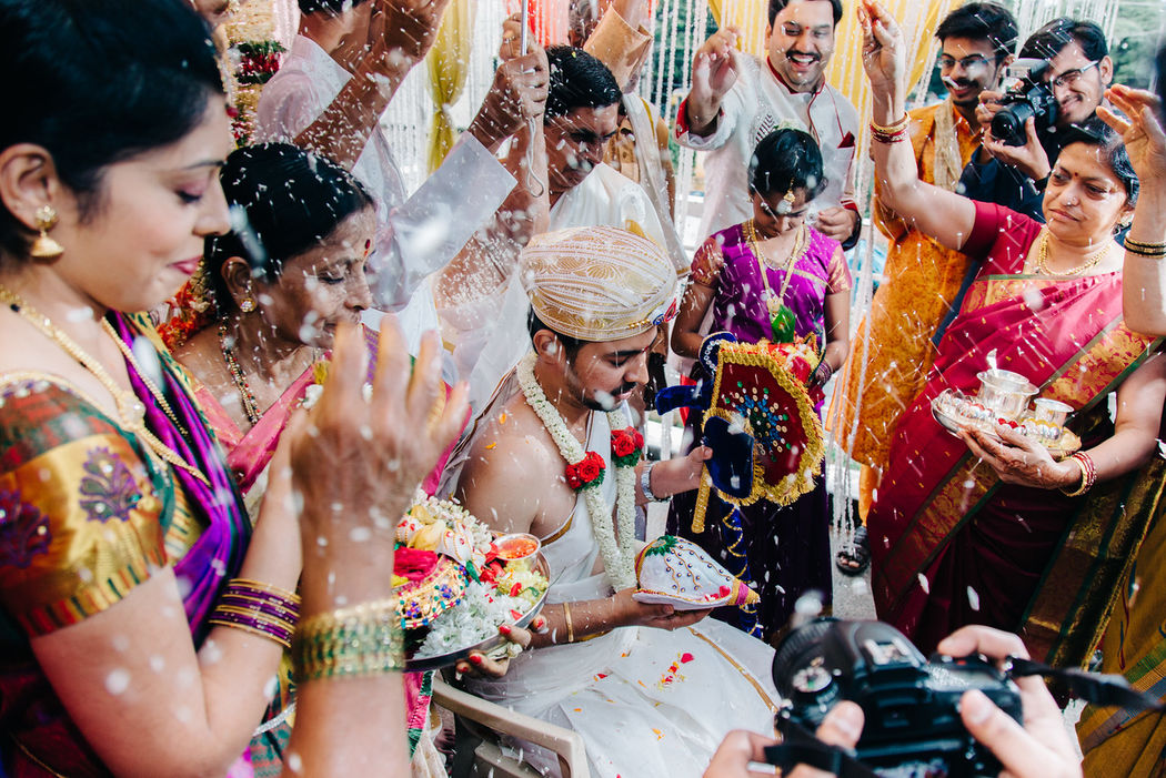 Welcoming of a groom in South Indian Wedding