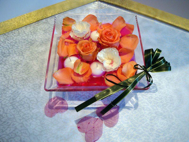 Centre de table orange - Tiges et Pétales