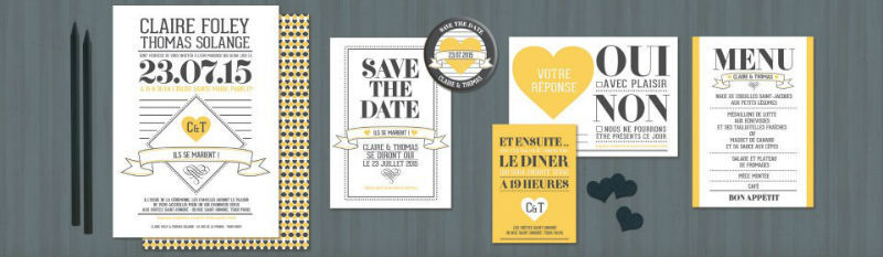 Création de faire part de mariage moderne. Collection d'invitations de mariage moderne et personnalisée avec vos couleurs.
