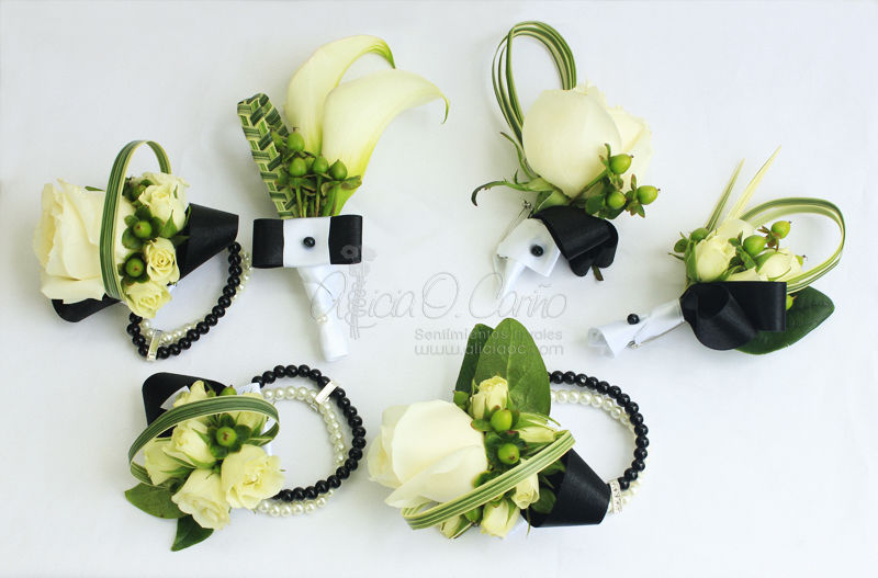 Accesorios florales (boutonniere, corsages tipo pulsera)